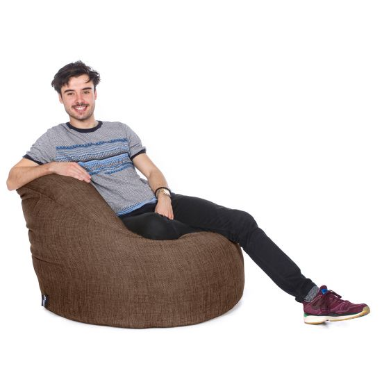 Luxury Chenille Bean Bag Chair - Walnut