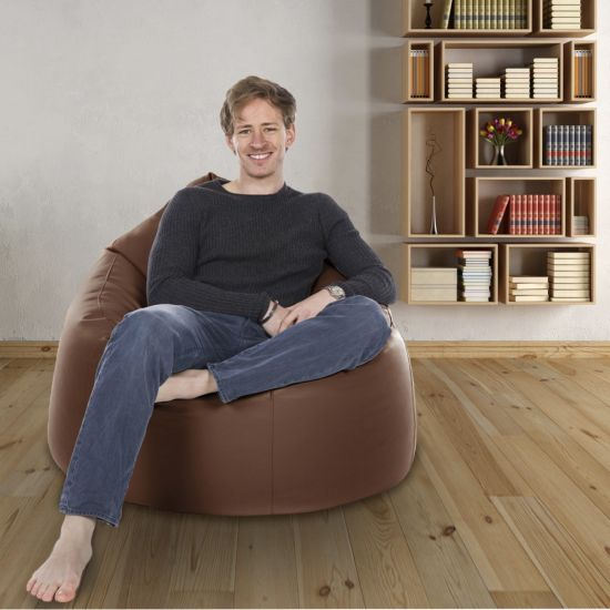 Real Leather Bean Bag Chair - Light Brown