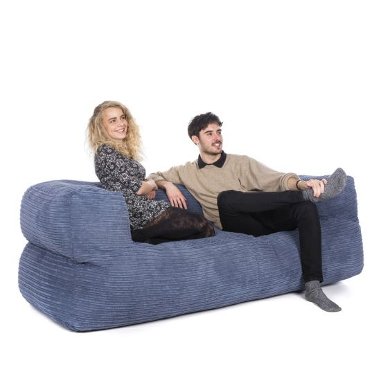 Corduroy Couch Bean Bag - Slate Blue