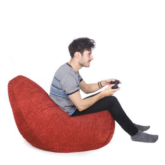 Corduroy Hi-Back Gamer Bean Bag - Red