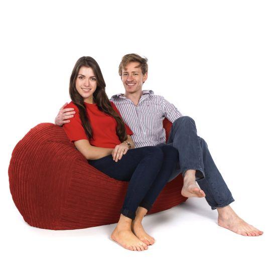 Corduroy Settee Bean Bag - Red