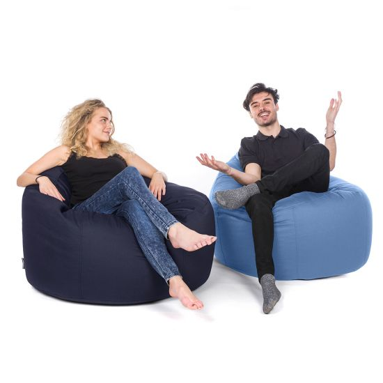 Cotton Bean Bag Chair - Navy and Sky Blue