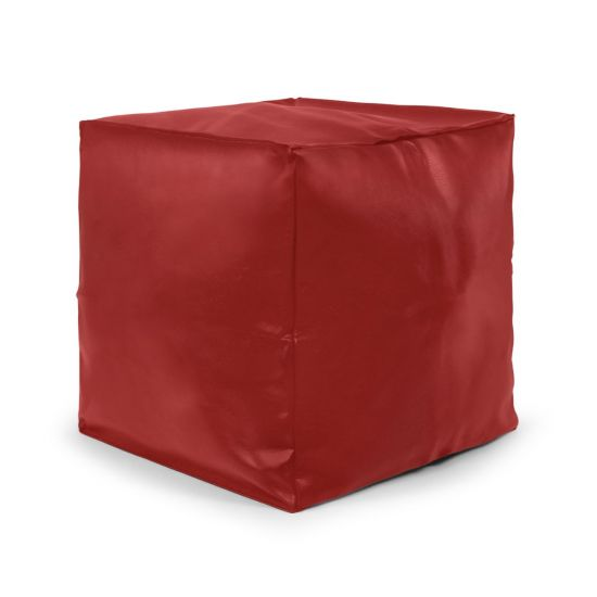 Faux Leather Cube Bean Bag - Red (Side)