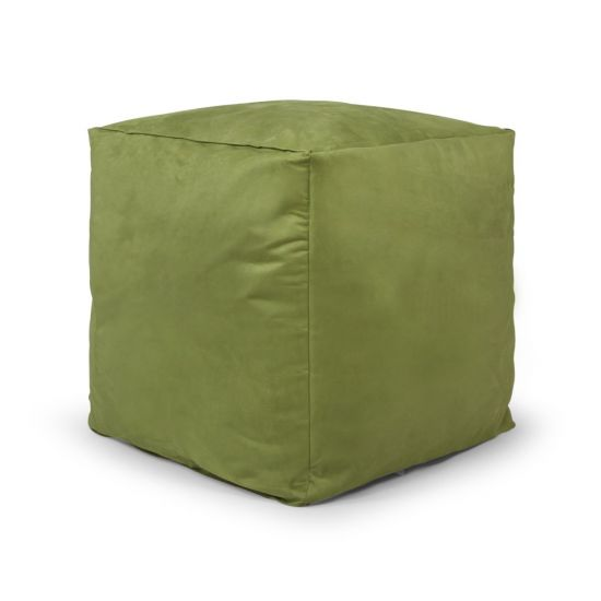 Faux Suede Cube Bean Bag - Lime Green (Side)