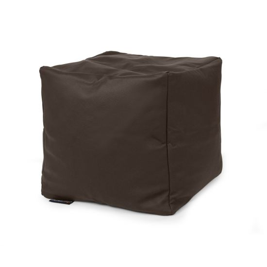 Real Leather Cube Bean Bag - Chocolate Brown