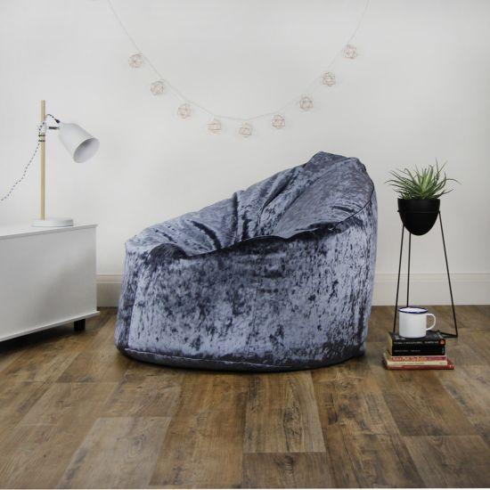 Designer Crushed Velvet Bean Bag Chair - Purple