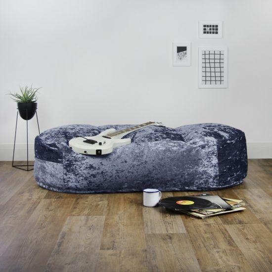 Designer Crushed Velvet Lounger Bean Bag - Blue