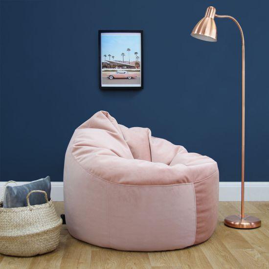 Designer Velvet Chair Bean Bag - Blush Pink