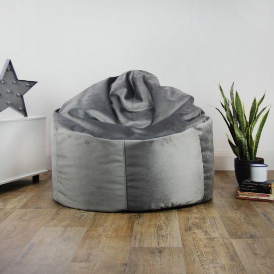 Designer Velvet Chair Bean Bag - Platinum Grey