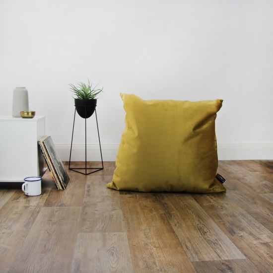 Designer Velvet Cushion Bean Bag - Square - Mustard