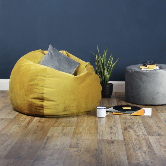Designer Velvet Retro Classic Bean Bag - Mustard