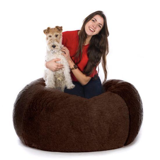 Faux Fur Retro Classic Bean Bag - Brown Bear (Brown Long Pile)