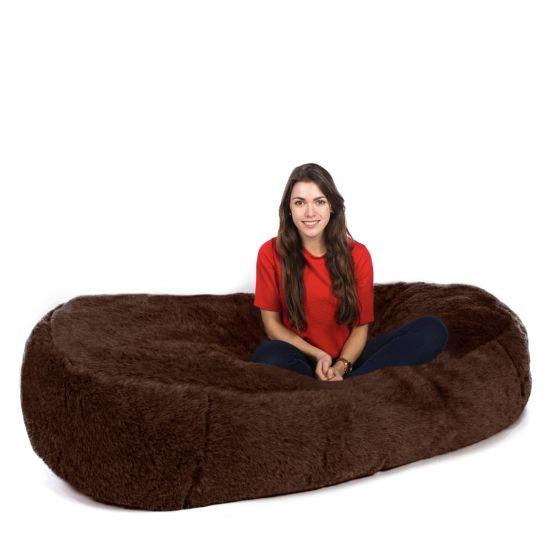 Faux Fur Sofa Bed Bean Bag - Brown Bear (Brown Long Pile)