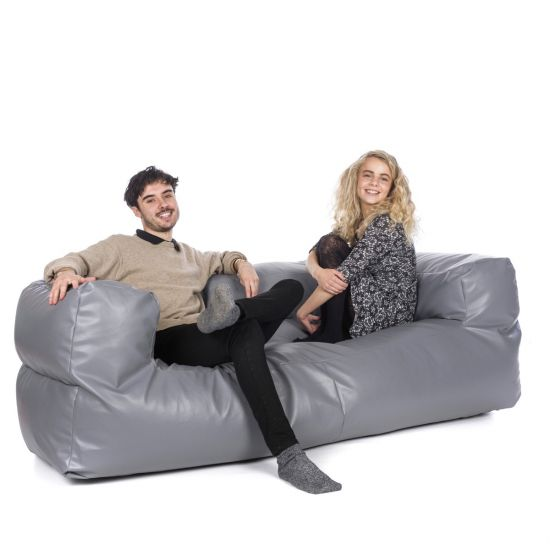 Faux Leather Couch Bean Bag - Grey