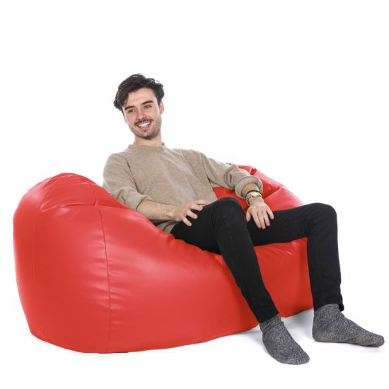 Faux Leather Settee Bean Bag - Red