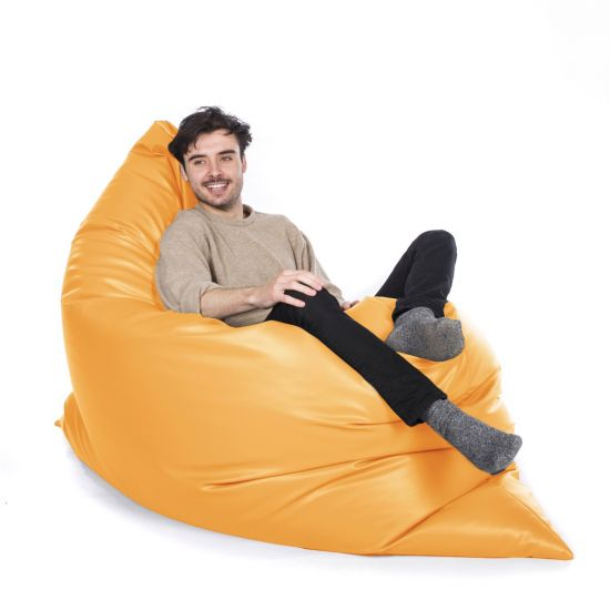 Faux Leather Slab Bean Bag - Sunflower Yellow