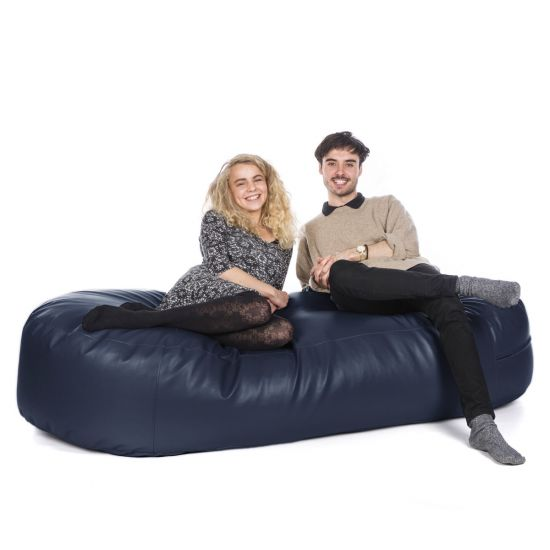 Faux Leather Sofa Bed Bean Bag - Navy Blue