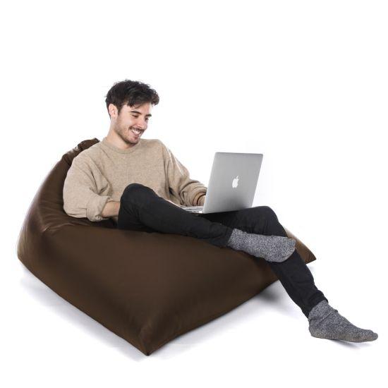 Faux Leather Tri-Gamer Bean Bag - Chocolate Brown
