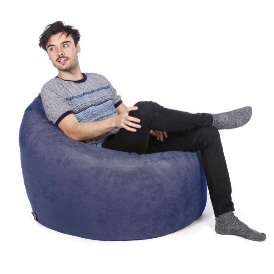 Faux Suede Bean Bag Chair - Ocean Blue