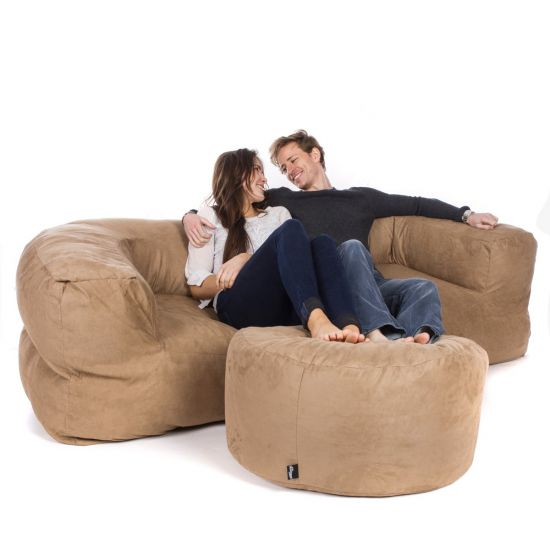 Faux Suede Couch Bean Bag - Caramel
