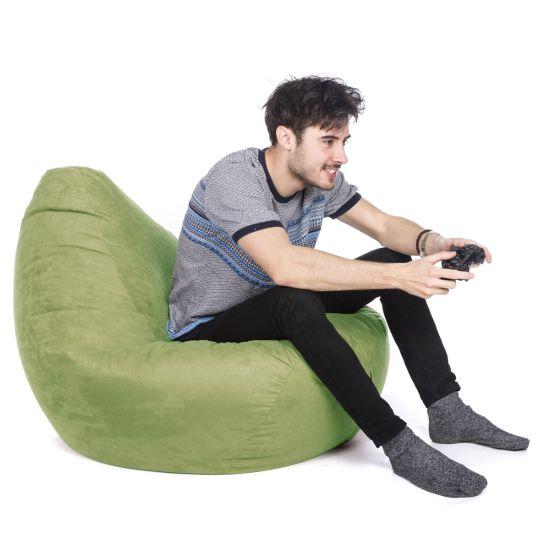 Faux Suede Hi-Back Gamer Bean Bag - Lime Green