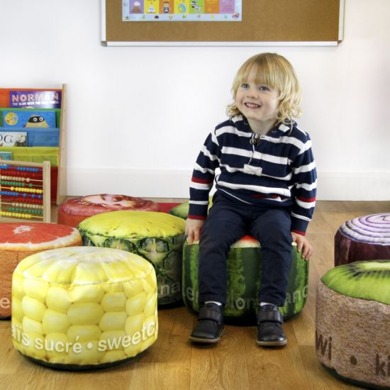 Mini Fruit and Vegetable Stool Bean Bags - Pack of 8