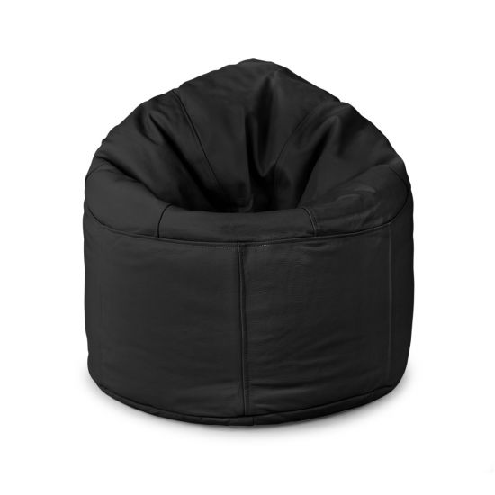 Real Leather Oxford Panelled Bean Bag Chair - Black