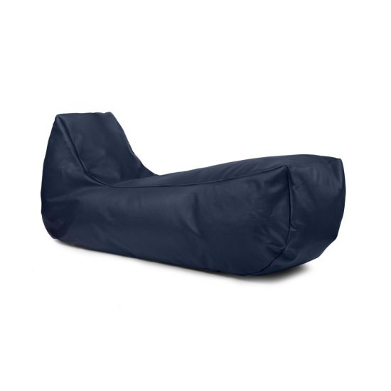 Real Leather Recliner Bean Bag - Blue
