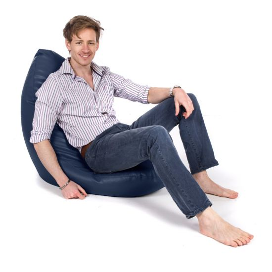 Real Leather Wedgie Bean Bag - Blue