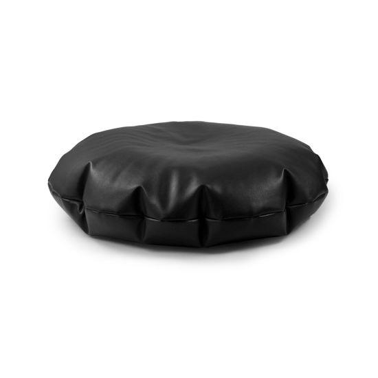 Faux Leather Cushion Bean Bag - Round - Black
